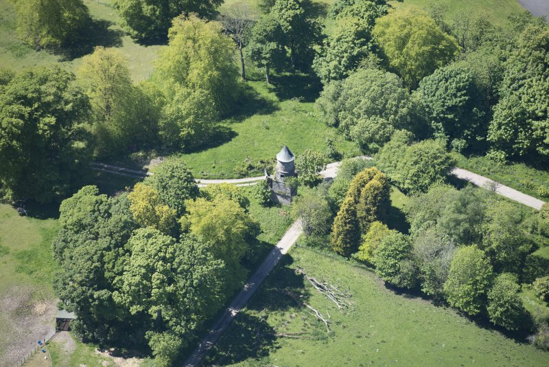 Oblique aerial view of Darleith House dovecot, looking NNW.