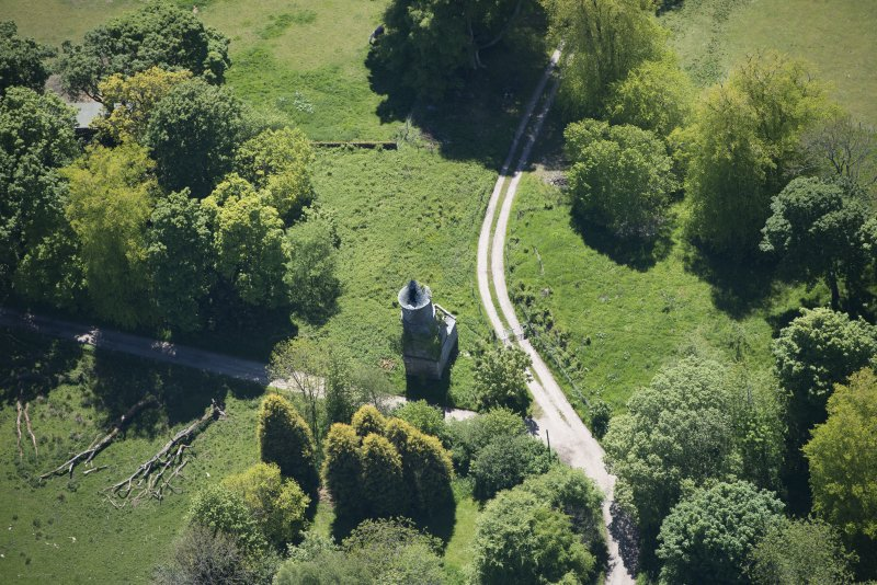 Oblique aerial view of Darleith House dovecot, looking S.