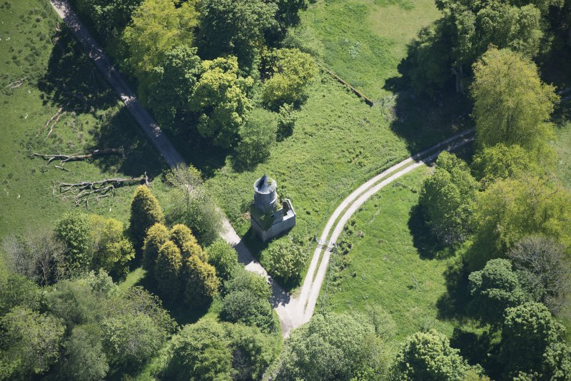 Oblique aerial view of Darleith House dovecot, looking SSE.