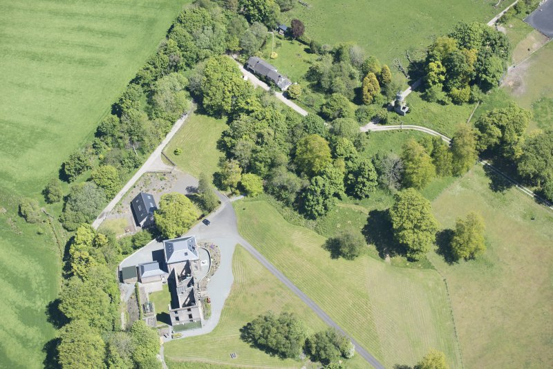 Oblique aerial view of Darleith House and dovecot, looking NE.