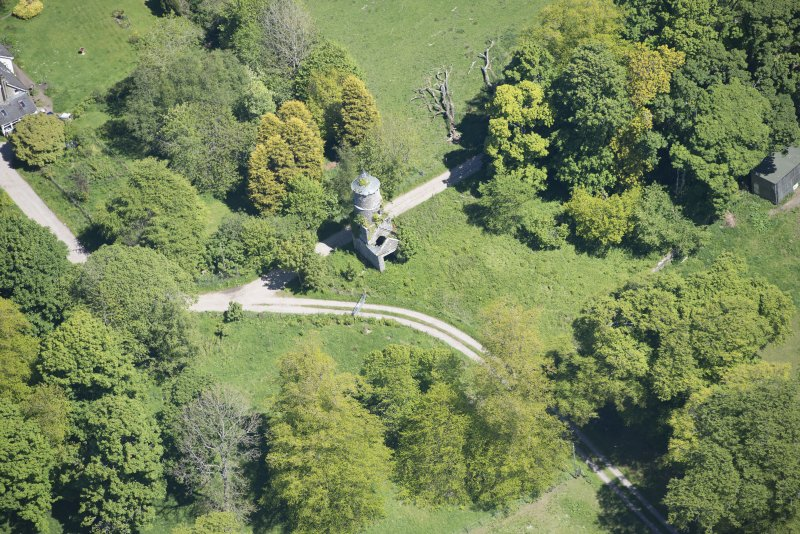 Oblique aerial view of Darleith House dovecot, looking ENE.