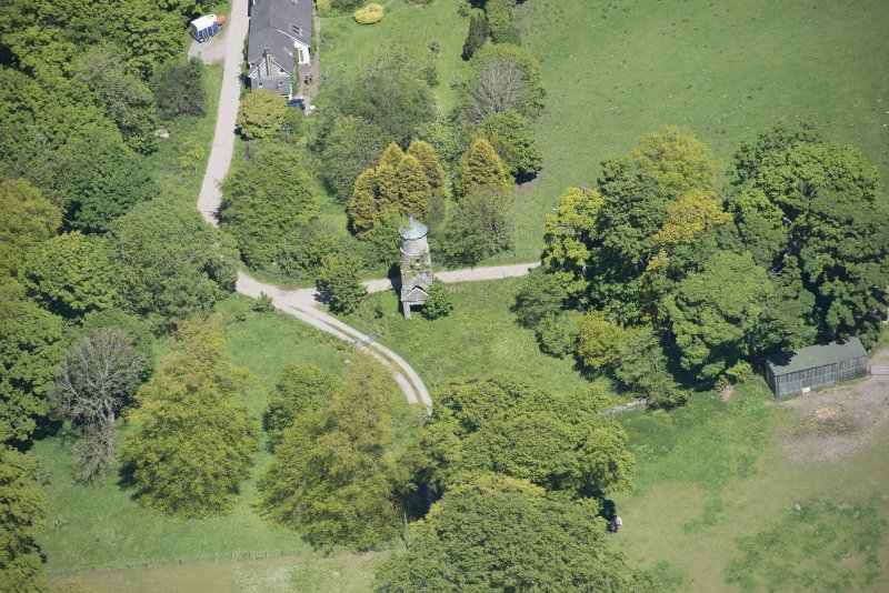 Oblique aerial view of Darleith House dovecot, looking NE.