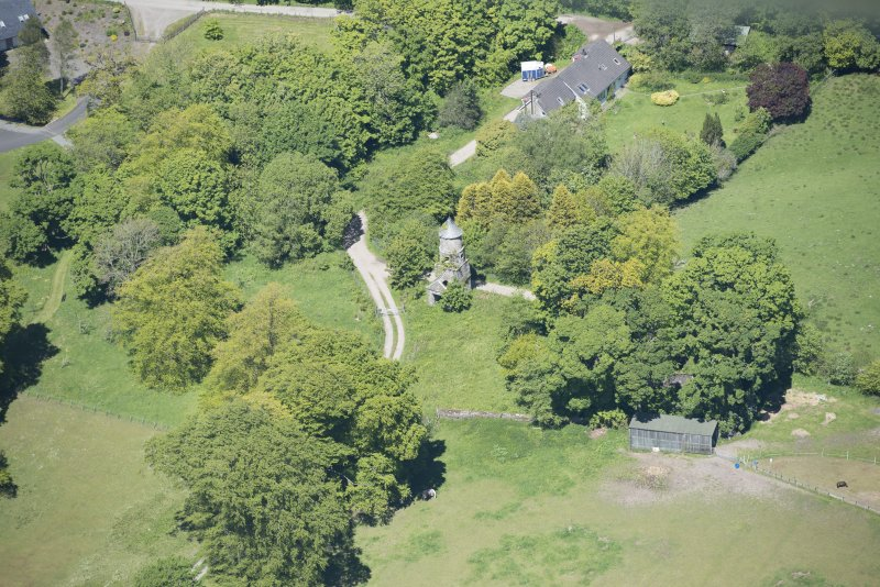 Oblique aerial view of Darleith House dovecot, looking N.