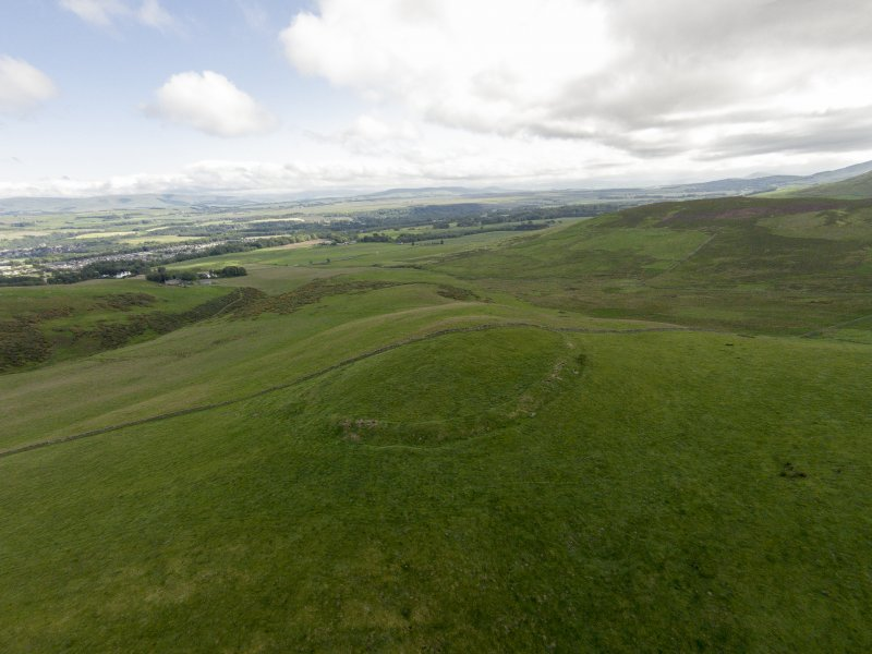 Oblique aerial view of Turnhouse Hill fort looking south.