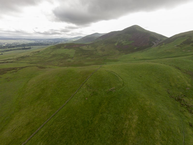 Oblique aerial view of Turnhouse Hill fort looking west.