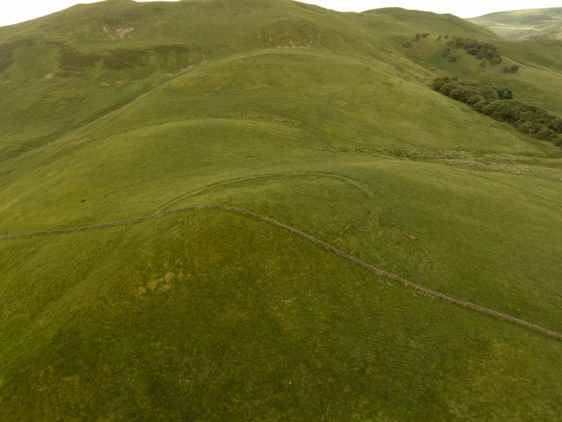 Oblique aerial view of Turnhouse Hill fort looking north.