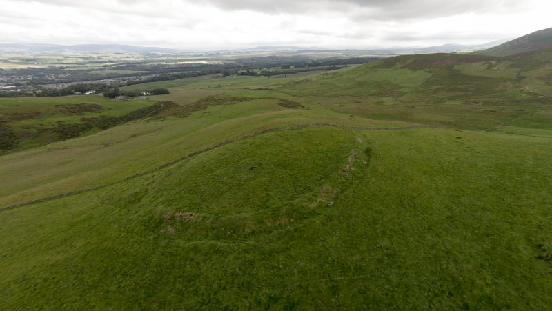Oblique aerial view of Turnhouse Hill fort looking south west.
