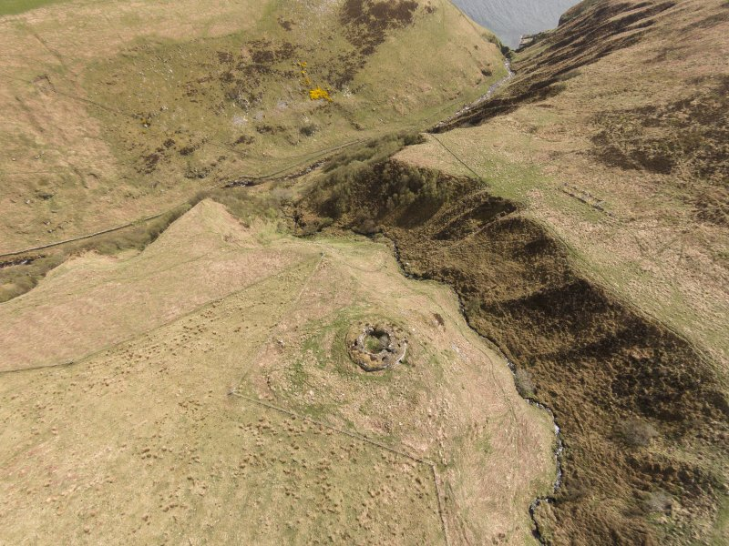 Oblique aerial view of Ousdale Broch, looking south east.