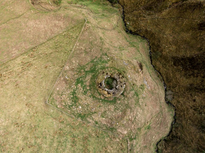 Near vertical aerial view of Ousdale Broch, looking ESE.
