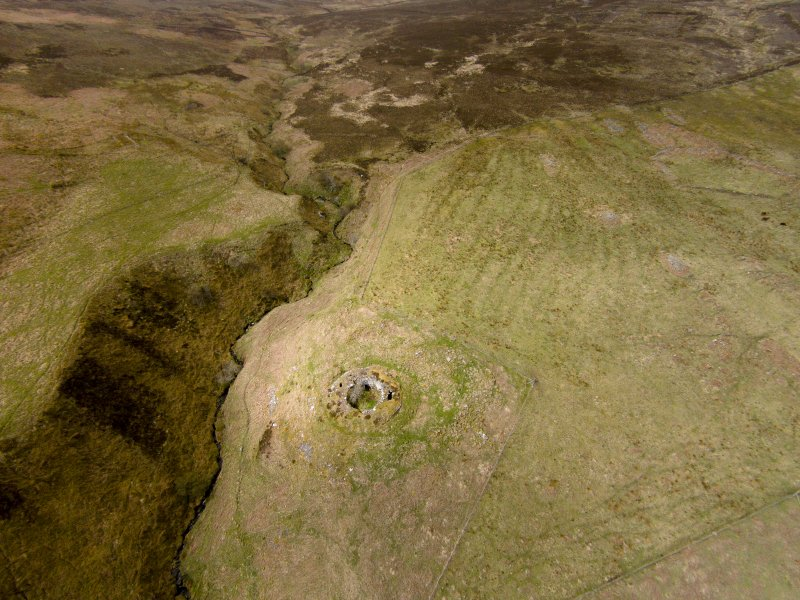 Oblique aerial view of Ousdale Broch, looking west.