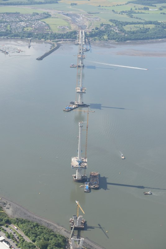 Oblique aerial view of the construction of the Queensferry Crossing, looking SSW.