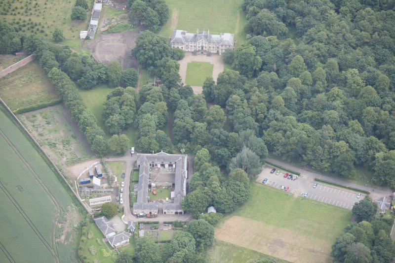 Oblique aerial view of Newhailes House and stables, looking NNE.