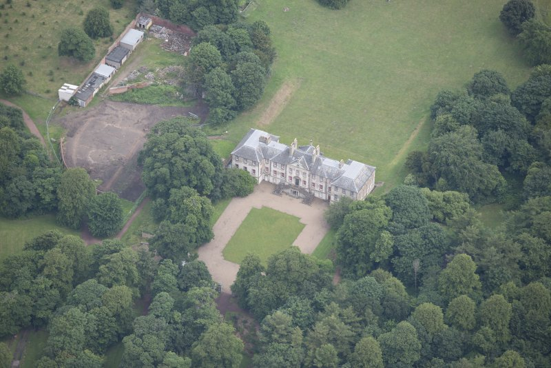 Oblique aerial view of Newhailes House, looking NNE.