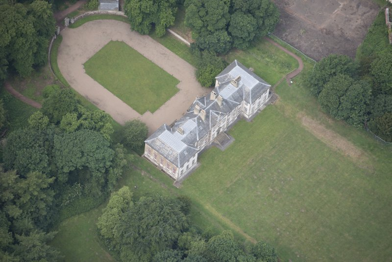 Oblique aerial view of Newhailes House, looking W.