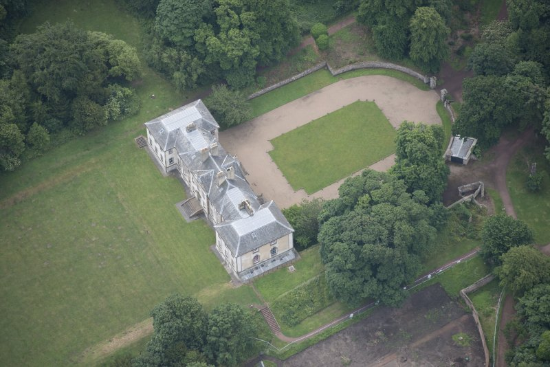 Oblique aerial view of Newhailes House, looking S.