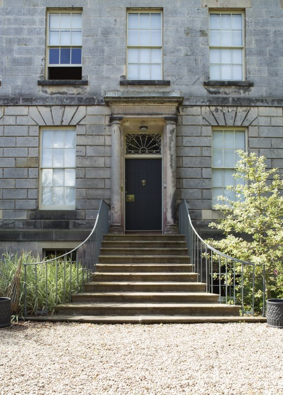 Eskbank House. view of entrance and steps from North East.
