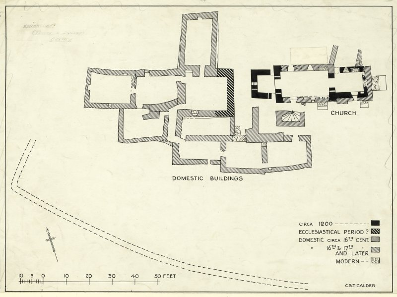 Eynhallow Monastery. Publication drawing; phased plan of church and domestic buildings.