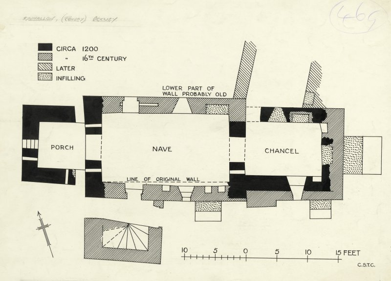 Eynhallow Monastery. Publication drawing; phased plan of church.
