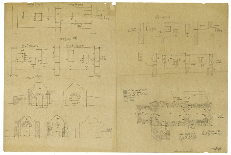 Chapel, Eynhallow, Orkney. Plans, elevations and sections. Henry Dryden 1866, copied by H Law 1896.