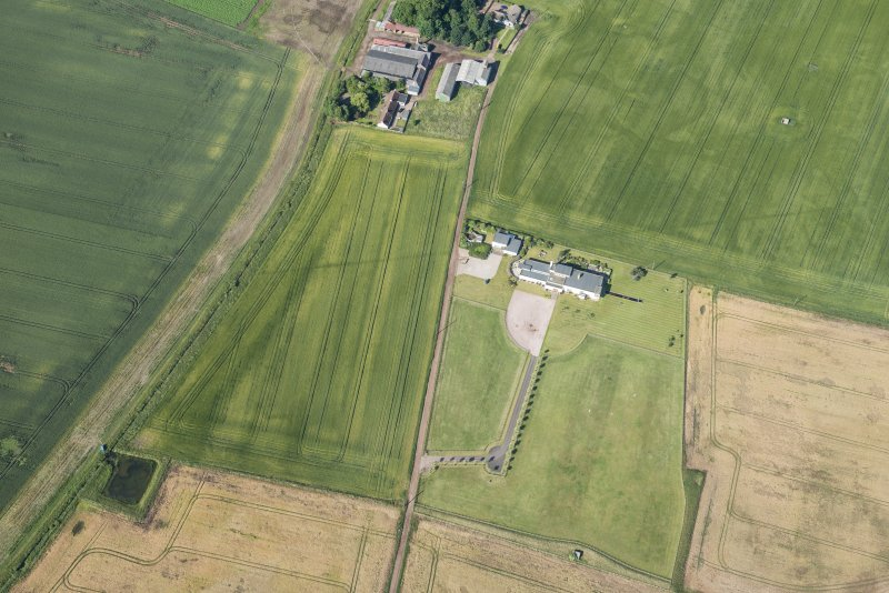 Oblique aerial view of the cropmarks of the field boundaries, looking WSW.