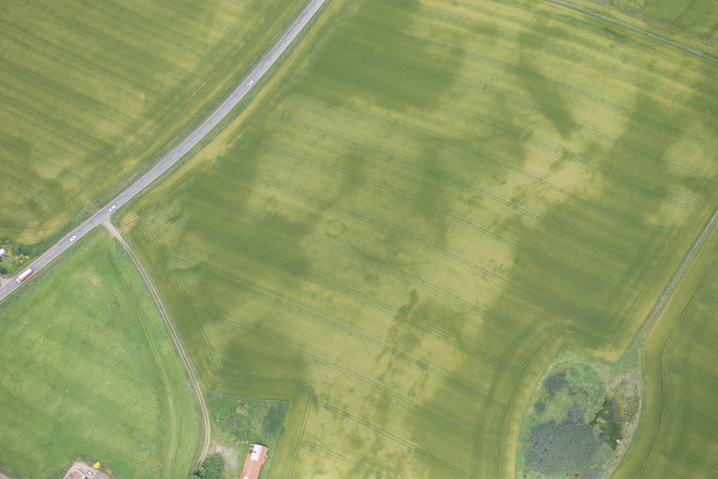 Oblique aerial view of the cropmarks of the barrow, looking NE.