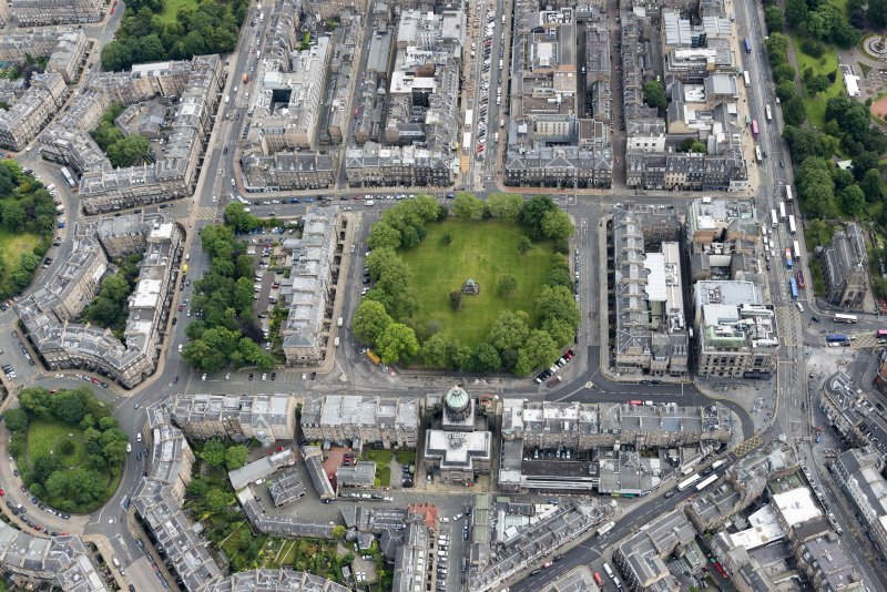 Oblique aerial view of St George's Parish Church, Albert Memorial, Charlotte Square, South Charlotte Street, North Charlotte Street, Hope Street and Charlotte Square Gardens, looking ENE.