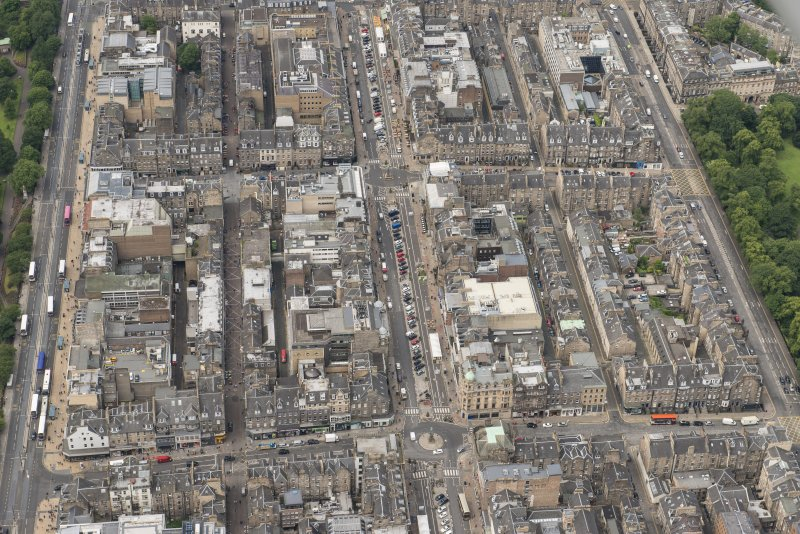 Oblique aerial view of Frederick Street, George Street, Queen Street, Rose Street, Princes Street and Castle Street, looking WSW.