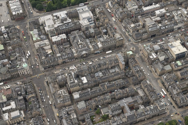 Oblique aerial view of George Street, Hanover Street and Assembly Rooms, looking S.