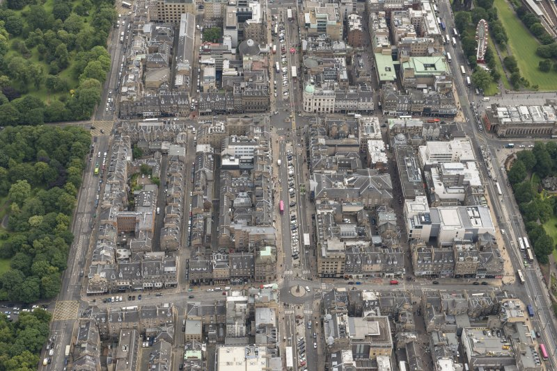 Oblique aerial view of George Street, Hanover Street, Frederick Street, Princes Street and Assembly Rooms, looking E.
