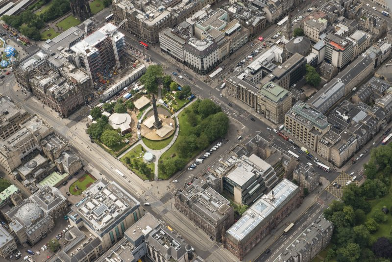 Oblique aerial view of St Andrew Square and the Scottish National Portrait Gallery, looking SW.