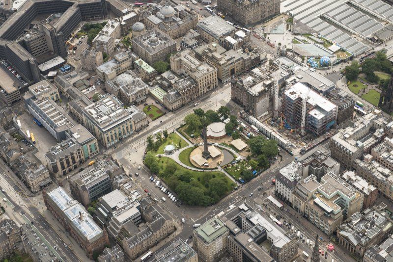 Oblique aerial view of St Andrew Square, British Linen Bank, Scottish National Portrait Gallery and Dundas House, looking ESE.