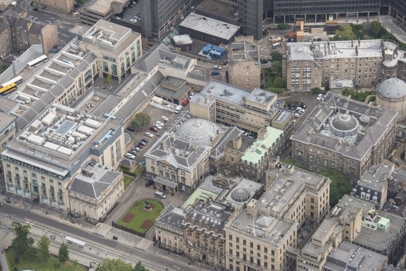 Oblique aerial view of Dundas House, Hopetoun Monument, British Linen Bank and Douglas Hotel, looking NE.