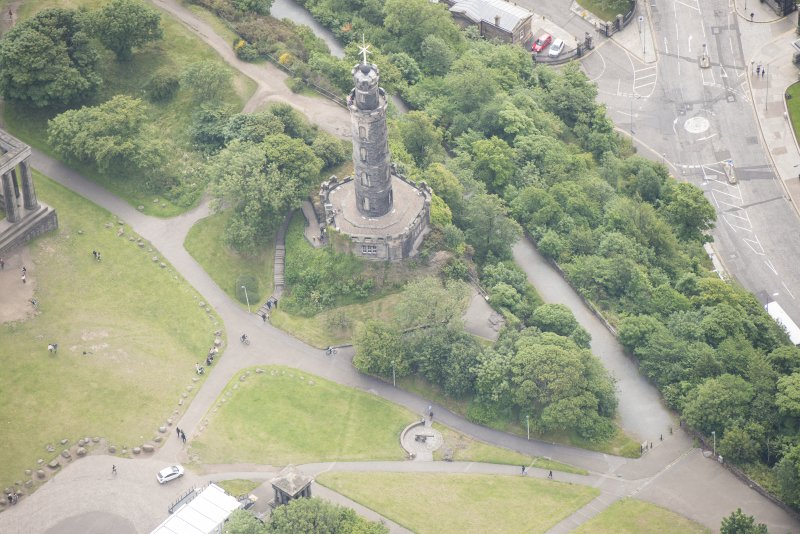 Oblique aerial view of Nelson's Monument, looking SE.