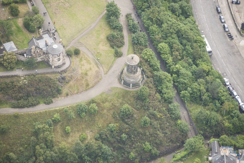 Oblique aerial view of Observatory House and Dugald's Monument, looking ESE.