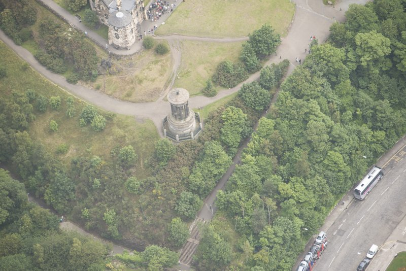 Oblique aerial view of Dugald Stewart's Monument, looking ENE.
