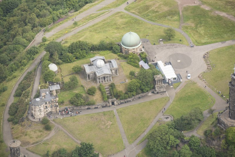 Oblique aerial view of the City Observatory, Observatory House, Playfair's Monument and City Dome, looking N.