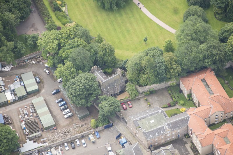 Oblique aerial view of Croft an Righ House, lookingS.