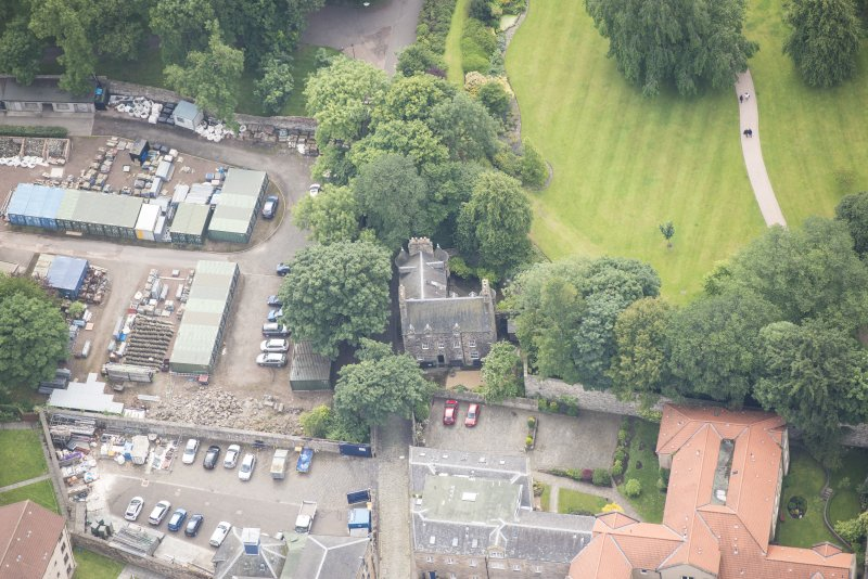 Oblique aerial view of Croft an Righ House, lookingSE.