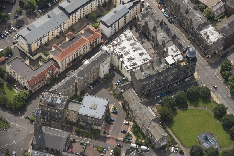 Oblique aerial view of Leith Hospital, looking NW.