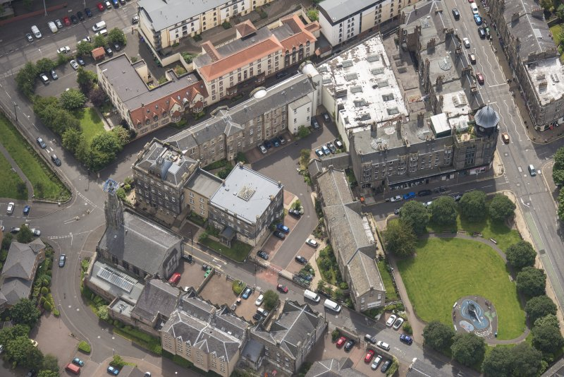 Oblique aerial view of St Thomas' Church and Leith Hospital, looking W.