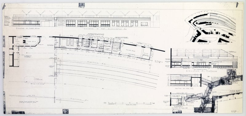 Dyeline copy of drawing showing Plans, Elevations and Sections Drawn by British Rail, Scottish Region, Chief Civil Engineer, Architect's Section  (1958)