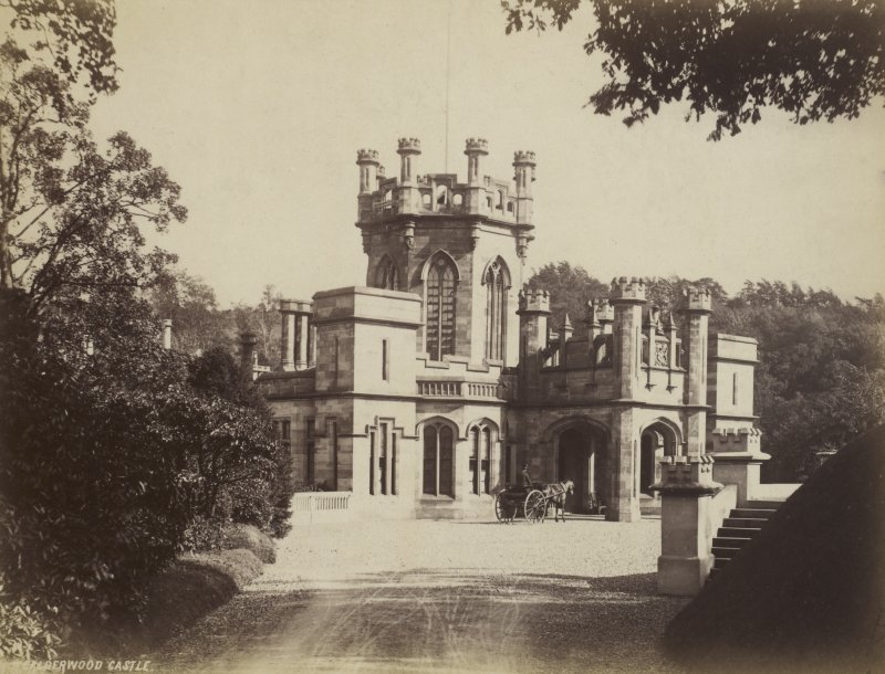 View of Calderwood Castle with horse-drawn carriage outside the entrance
