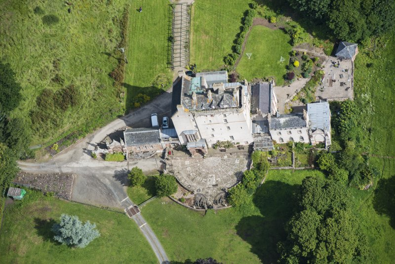Oblique aerial view of Delgatie Castle, looking N.
