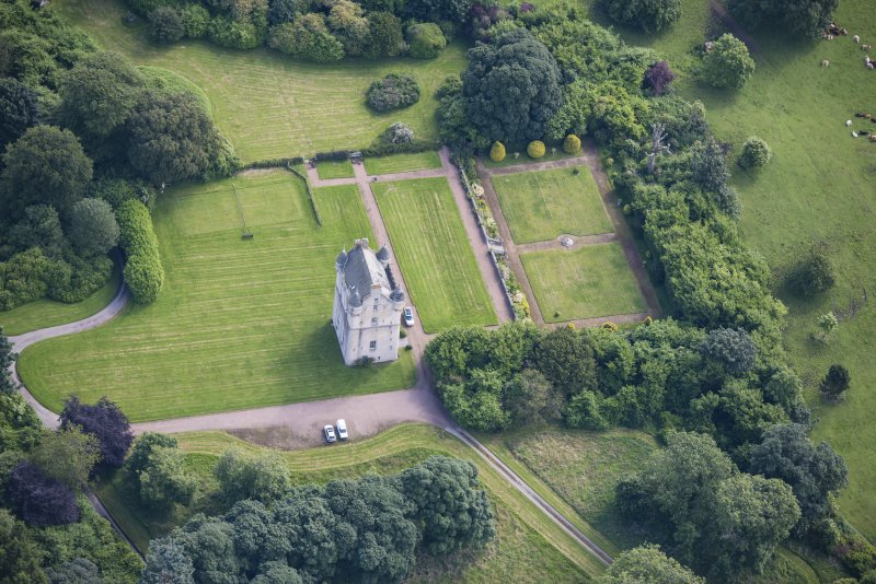 Oblique aerial view of Udny Castle and garden, looking N.