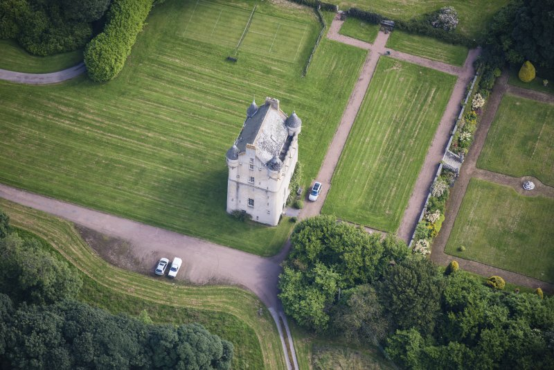 Oblique aerial view of Udny Castle, looking ENE.