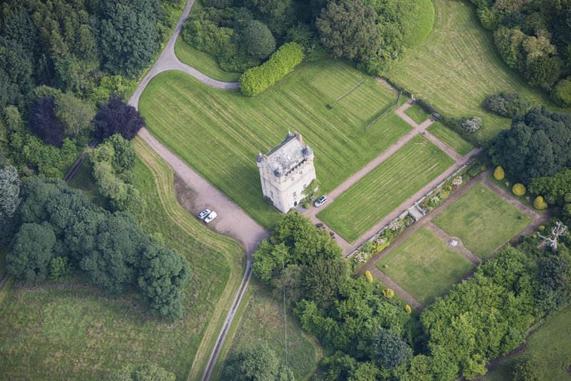Oblique aerial view of Udny Castle and garden, looking NE.