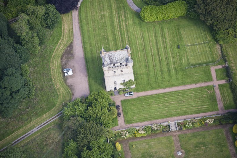 Oblique aerial view of Udny Castle, looking N.
