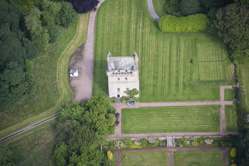 Oblique aerial view of Udny Castle, looking NNW.