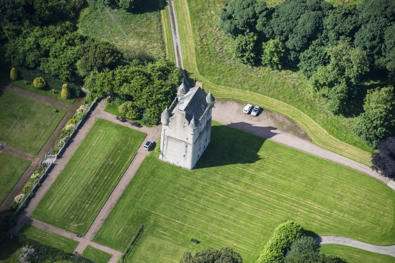 Oblique aerial view of Udny Castle, looking WSW.