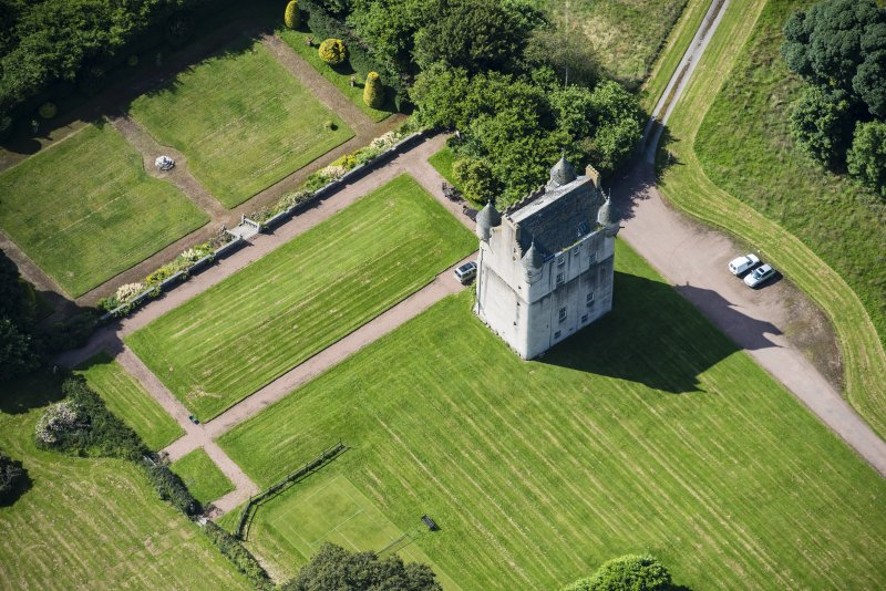 Oblique aerial view of Udny Castle, looking SSW.